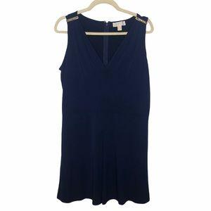 Michael Kors Navy Gold V-Neck Sleeveless Dress, 12